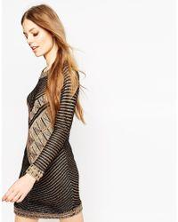 ASOS | Dress In Knit In Metallic Yarn In Chevron Pattern | Lyst