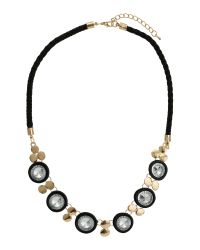 Mikey - Black Round Crystals On Leather Rope Choker - Lyst