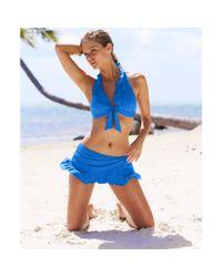 Kenneth Cole Reaction - Blue Ruffle Tiefront Halter Bikini Top - Lyst
