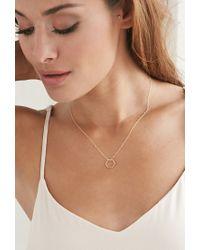 Forever 21 - Metallic Magnolia Hexagon Necklace - Lyst