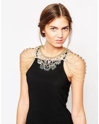 Little Mistress - Metallic Statement Necklace With Shoulder Chain Details - Lyst