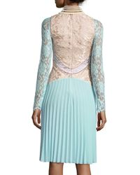 Christopher Kane - Green Long-sleeve Paneled Lace Combo Dress - Lyst