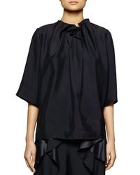 Stella McCartney - Black Ruffle-neck Satin Top - Lyst