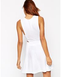 ASOS - Black Skater Dress In Texture With Cut Out Side - Lyst