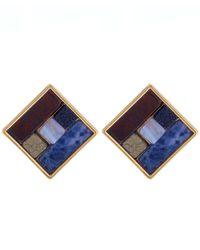 Lulu Frost - Blue Gold-tone Petra Stud Earrings - Lyst