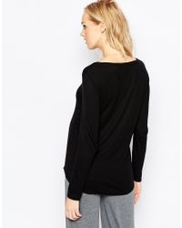 ASOS | Black Maternity Lounge Rib Long Sleeve Top With Buttons | Lyst