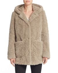 Kenneth Cole | Natural Hooded Faux-fur Coat | Lyst