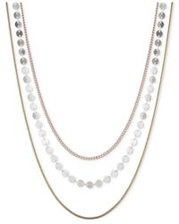 Nine West | White Tri-tone Layer Chain Necklace | Lyst