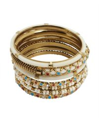 Chamak by Priya Kakkar | Metallic Set Of 7 - White And Antique Gold Bangles | Lyst