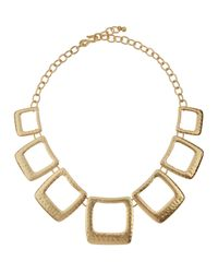 Kenneth Jay Lane | Metallic Hammered Square Station Necklace | Lyst