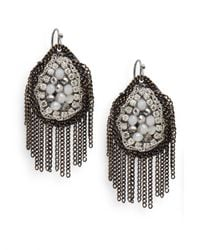 Saks Fifth Avenue | Gray Beaded Chain Fringe Earrings | Lyst