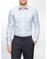 Calvin Klein | Blue White Label Classic Fit Refined Plaid Cotton Shirt for Men | Lyst
