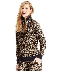 Michael Kors | Natural Michael Petite Leopard-print Zip-front Active Jacket | Lyst