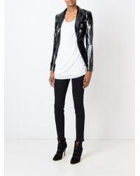 Unconditional - Black High-Collar Leather Blazer - Lyst