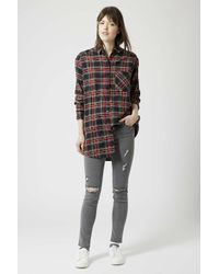 TOPSHOP | Gray Tall Moto Grey Ripped Jamie Jeans | Lyst