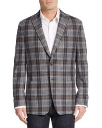 Saks Fifth Avenue | Blue Regular-fit Plaid Wool Sportcoat for Men | Lyst