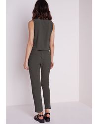 3493201af3 Lyst - Missguided Sleeveless Zip Front Jumpsuit Khaki in Natural