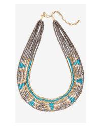 Express | Multicolor Aztec Seedbead Collar Necklace | Lyst