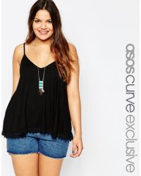 Asos Curve | Black Swing Cami With Lace Hem | Lyst