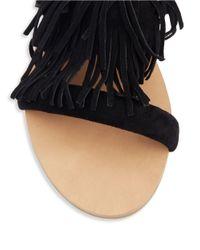 Steve Madden - Black Leather Fringe Sandal - Lyst