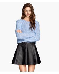 H&M - Black Imitation Leather Skirt - Lyst
