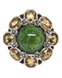 Stephen Dweck | Metallic Silver Green Cognac Quartz Flower Ring | Lyst