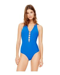 Tory Burch - Blue Solid Plunging One-piece - Lyst