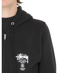 Stussy - Black Hooded Zip-up Cotton Blend Sweatshirt for Men - Lyst