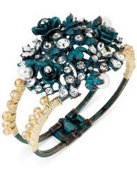 Betsey Johnson | Metallic Goldtone Patina Flower Hinged Bangle Bracelet | Lyst