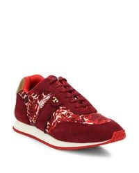 Tory Burch - Red Pettee Mixed-media Sneakers - Lyst