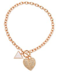 Guess - Pink Crystal Heart Collar Necklace - Lyst