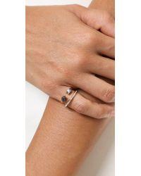 Vita Fede | Metallic Ultra Mini Titan Stone & Crystal Ring - Black/White/Rose Gold | Lyst