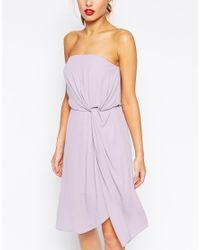 ASOS | Purple Twist Soft Bandeau Midi Dress | Lyst