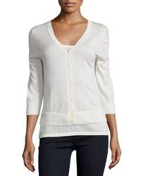 Neiman Marcus - White Modern Cashmere Superfine V-neck Cardigan - Lyst