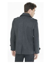Express - Gray Wool Blend System Peacoat for Men - Lyst