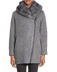 Vince Camuto Gray Faux Fur Trim Grooved Wool Blend Coat