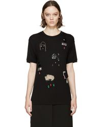 Lanvin - Black Embroidered T_shirt - Lyst