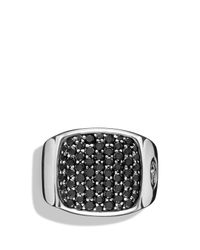 David Yurman | Metallic Pavé Signet Ring With Black Diamonds for Men | Lyst
