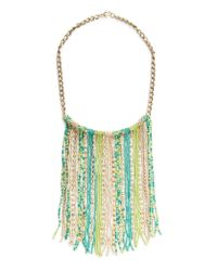 Mango - Green Beads Cascading Necklace - Lyst