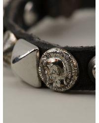 DIESEL - Black 'Alie' Studded Bracelet for Men - Lyst