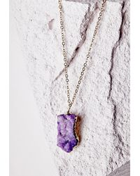 Missguided | Semi-precious Stone Pendant Necklace Purple | Lyst