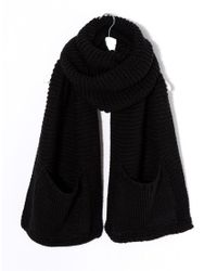 Pieces | Black Scarf With Pocket | Lyst