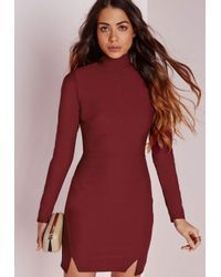 Missguided | Purple Crepe High Neck Bodycon Dress Burgundy | Lyst