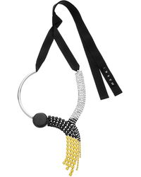 Marni - Metallic Strass Self-tie Pendant Necklace - Lyst