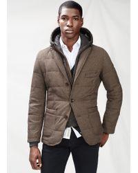Mango - Brown Detachable Lining Feather Down Blazer for Men - Lyst