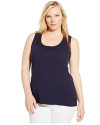 INC International Concepts | Blue Plus Size Crochet-back Tank Top | Lyst