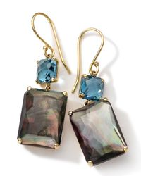 Ippolita - Metallic Gelato London Blue Topaz, Black Shell, Clear Quartz & 18k Yellow Gold Rectangle Double-drop Earr - Lyst