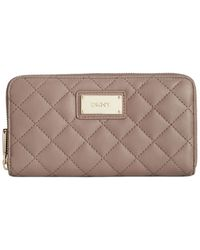DKNY - Natural Gansevoort Quilted Large Zip Around Wallet - Lyst