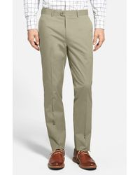 Bensol | Brown Washed Trim Fit Stretch Cotton Trousers for Men | Lyst
