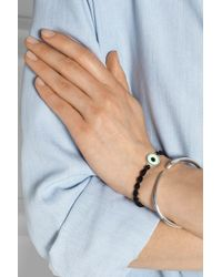 Iam By Ileana Makri - Black Lucky Enameled Silver and Cord Bracelet - Lyst